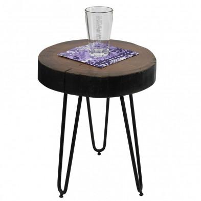 Table d'appoint ronde L. 30 x P. 30 x H. 41 cm avec un plateau en sheesham et 3 pieds en métal collection C-Tilly