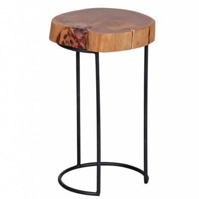 Table d'appoint marron contemporain en bois massif acacia L. 28 x P. 28 x H. 45 cm collection Army