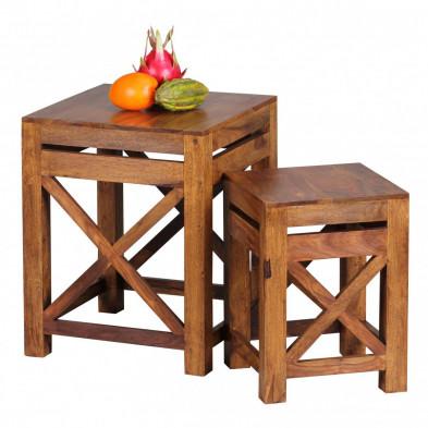 Lot de 2 Table d'appoint marron contemporain en bois massif L. 40 x P. 40 x H. 50 cm collection Oving