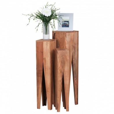 Lot de 3 Table d'appoint marron contemporain en bois massif L. 25 x P. 25 x H. 100 cm collection Army