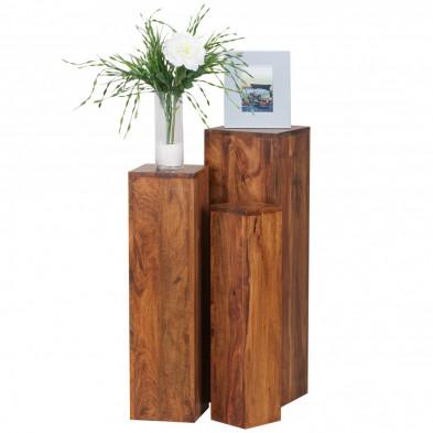 Lot de 3 Table d'appoint marron contemporain en bois massif L. 25 x P. 25 x H. 85 cm collection Oving