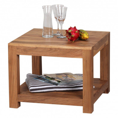 Table basse en bois marron contemporain en bois massif acacia L. 60 x P. 60 x H. 45 cm collection Army