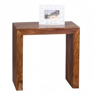 Table d'appoint marron contemporain en bois massif L. 60 x P. 35 x H. 60 cm collection Oving