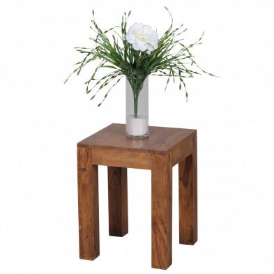 Table d'appoint marron contemporain en bois massif L. 35 x P. 35 x H. 45 cm collection Oving