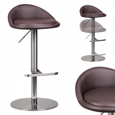 Tabouret de bar marron design en pvc 43 cm de largeur L. 43 x P. 43 x H. 66 - 90 cm collection Salone
