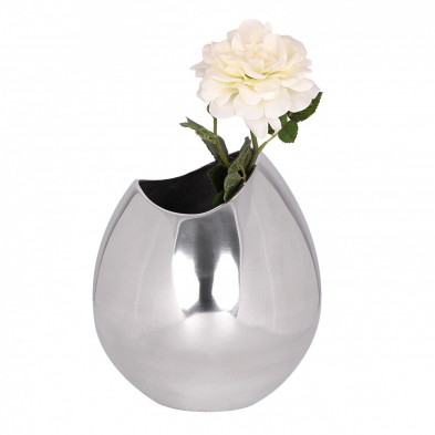 Vase argenté design en aluminium L. 20 x P. 20 x H. 25 cm collection Mason