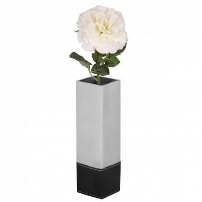 Vase argenté design en aluminium L. 8 x P. 8 x H. 30 cm collection Unique