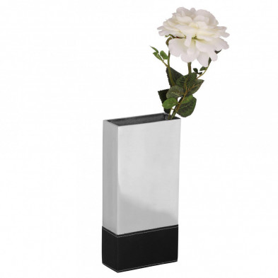 Vase argenté design en aluminium L. 13 x P. 6 x H. 27 cm collection Unique