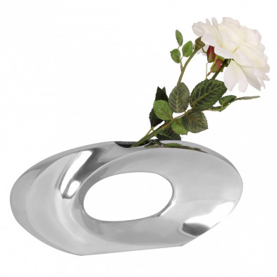 Vase argenté design en aluminium L. 32 x P. 5 x H. 15 cm collection Sanmomme