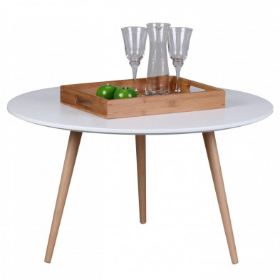 Table basse design blanc scandinave en bois massif hêtre L. 80 x P. 80 x H. 45 cm collection Appeln