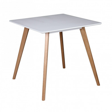 Table design blanc scandinave en bois mdf L. 80 x P. 80 x H. 75 cm collection Appeln