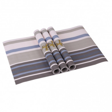 Lot de 4 Textile de table et de cuisine bleu moderne en pvc L. 45 x P. 30 cm collection Traffordpark