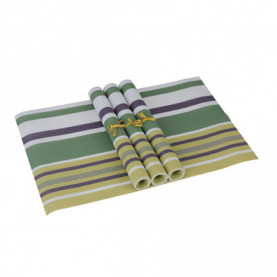 Lot de 4 Textile de table et de cuisine jaune moderne en pvc L. 45 x P. 30 cm collection Traffordpark