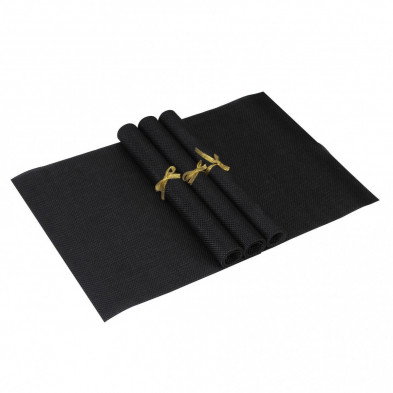 Lot de 4 Textile de table et de cuisine noir moderne en pvc L. 45 x P. 30 cm collection Traffordpark