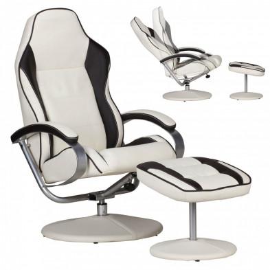 Fauteuil relax blanc design en PVC 1 place L. 69 x P. 60/40 x H. 96 - 110 cm collection Upigny