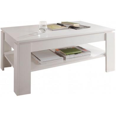 Table basse design coloris blanc en panneaux de particules mélaminés L. 110 x P. 65 x H. 47 cm collection Douai