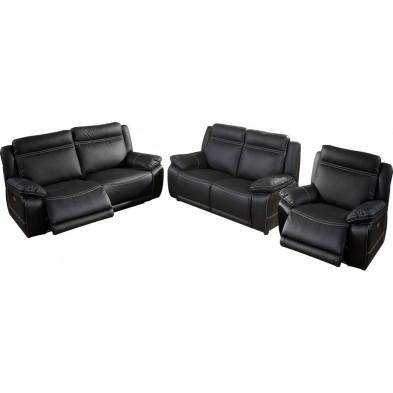 Ensemble canapés 6 places  en cuir noir avec relax éléctrique collection Apelacao