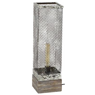 Lampe à poser argenté vintage en acier  L. 16 x P. 16 x H. 55 cm collection Goodyersend