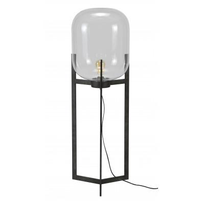 Lampadaire argenté vintage en acier  et verre L. 38 x P. 38 x H. 110 cm collection Dekort