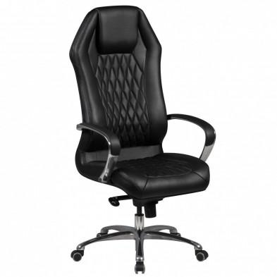 Chaise et fauteuil de bureau noir design en cuir véritable L. 67 x P. 67 x H. 126 - 136 cm collection Complex