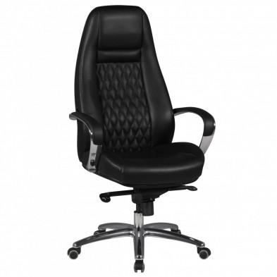 Chaise et fauteuil de bureau noir design en cuir véritable L. 68 x P. 68 x H. 120 - 130 cm collection Nouel