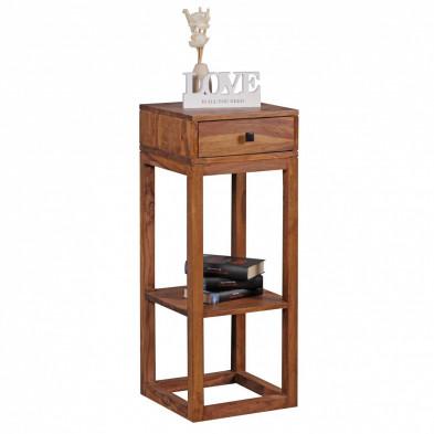 Table d'appoint marron contemporain en bois massif L. 35 x P. 35 x H. 90 cm collection Oving