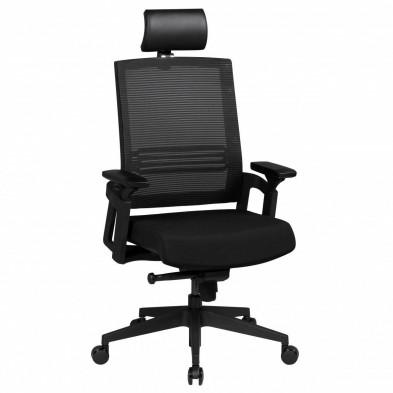Chaise et fauteuil de bureau noir design en tissu L. 65 x P. 65 x H. 118 - 130 cm collection Abee