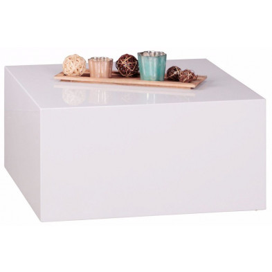 Table basse blanc design en bois mdf L. 60 x P. 60 x H. 30 cm collection Opmeer