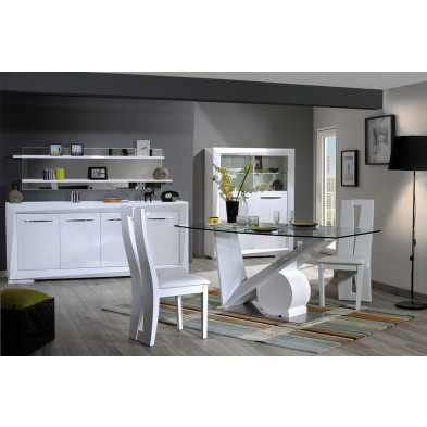 Salle à manger complète blanc design en collection Gamizfika