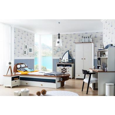 Chambre enfant complète blanc design en collection Deest