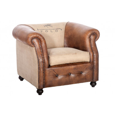 Fauteuils marron en canapé fixe cuir 1 place collection Hayti
