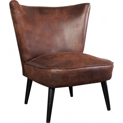 Fauteuil vintage en microfibre coloris marron L. 70 x P. 60 x H. 75 cm collection Sinderen