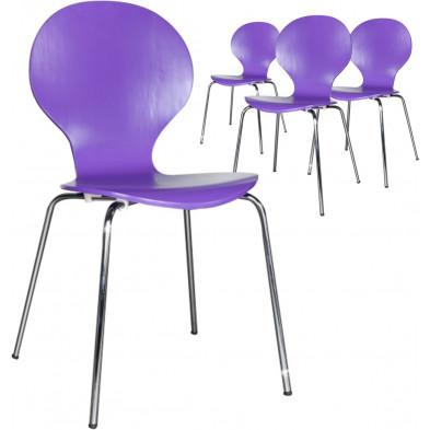 Lot de 4 chaises design en bois et métal coloris violet L. 85 x H. 50 cm collection Schendelbeke