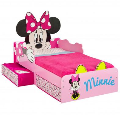 Lit petit enfant design  Minnie Mouse coloris rose avec tiroirs de rangement L. 77 x P. 143 x H. 87 cm collection Armadale