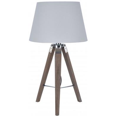 Lampadaire trépied en bois massif avec abat-jour en tissu coloris blanc L. 37.5 x P. 37.5 x H. 64 cm collection Iddergem