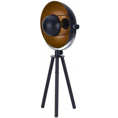 Lampadaire trépied en acier coloris noir et or  L. 23 x P. 23 x H. 68 cm collection Iesha