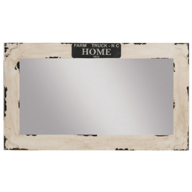 Miroir rectangulaire vintage en bois de manguier massif coloris naturel L. 120 x P. 3 x H. 70 cm collection Mabemen