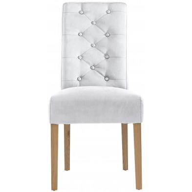 Lot de 2 chaises de salle à manger en cuir Pellini et bois coloris blanc L. 49 x P. 64 x H. 100 cm collection Shelderton