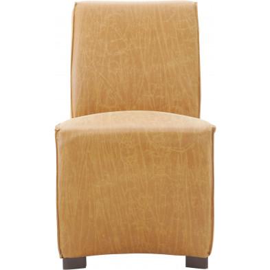 Lot de 2 chaises de salle à manger en cuir Pellini et bois coloris cognac L. 56 x P. 73 x H. 89.5 cm collection Nouhaila