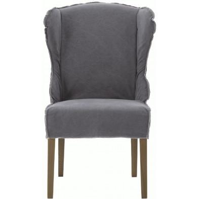 Lot de 2 fauteuils au style contemporain en tissu et bois de chêne coloris gris L. 65 x P. 74 x H. 105 cm collection Thoughtful