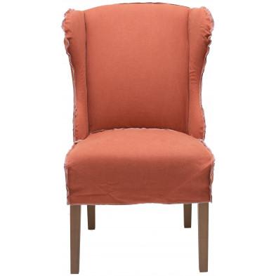 Lot de 2 fauteuils au style contemporain en tissu et bois de chêne coloris orange L. 65 x P. 74 x H. 105 cm collection Thoughtful