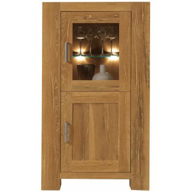 Vitrine rustique  2 portes dont 1 vitrée en bois de chêne massif coloris naturel L. 74 x P. 47 x H. 132 cm collection Membury