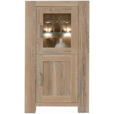 Vitrine rustique 2 portes dont 1 vitrée en bois de chêne massif coloris chêne blanchi L. 74 x P. 47 x H. 132 cm collection Membury