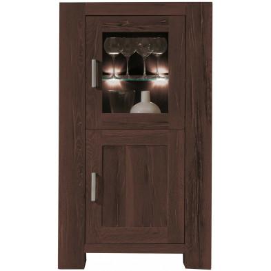 Vitrine rustique 2 portes dont 1 vitrée en bois de chêne massif coloris marron antique L. 74 x P. 47 x H. 132 cm collection  Membury