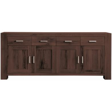 Buffet rustique 4 portes et 4 tiroirs en bois de chêne massif coloris marron L. 219 x P. 47 x H. 94 cm collection Membury