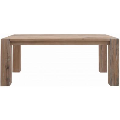 Table à manger rustique en bois de chêne massif coloris chêne blanchi L. 200 x P. 100 x H. 77 cm collection Membury