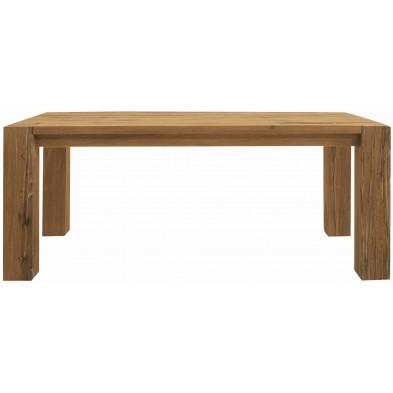 Table à manger rustique en bois de chêne massif coloris naturel L. 240 x P. 100 x H. 77 cm collection Membury
