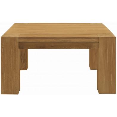 Table basse rustique en bois de chêne massif coloris naturel L. 90 x P. 90 x H. 47 cm collection Membury