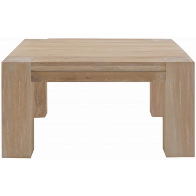 Table basse rustique en bois de chêne massif coloris chêne blanchi L. 90 x P. 90 x H. 47 cm collection Membury