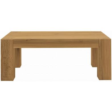 Table basse rustique en bois de chêne massif coloris naturel L. 120 x P. 70 x H. 47 cm collection Membury
